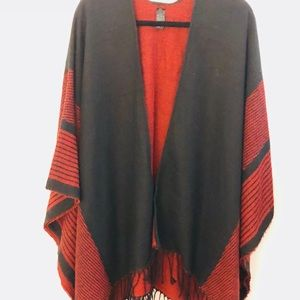 Sweaters - Red & black shawl, never worn. OS
